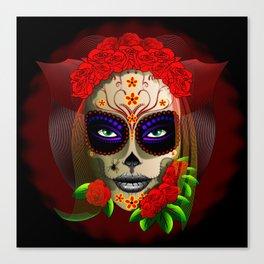 Skull Girl Dia de los Muertos Portrait Canvas Print