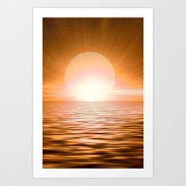 Big Bold Brilliant Sunset On The Seas #society6 #buyart Art Print