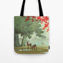 Vintage Japanese Woodblock Print Nara Park Deers Green Trees Red Japanese Maple Tree Tote Bag