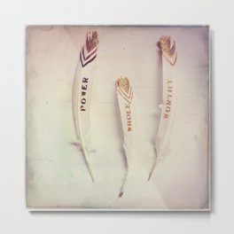 Power, Whole, Worthy Feather Trio Metal Print