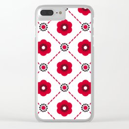Beautiful Asian Japanese Origami Paper Red Flower Pattern Art Clear iPhone Case