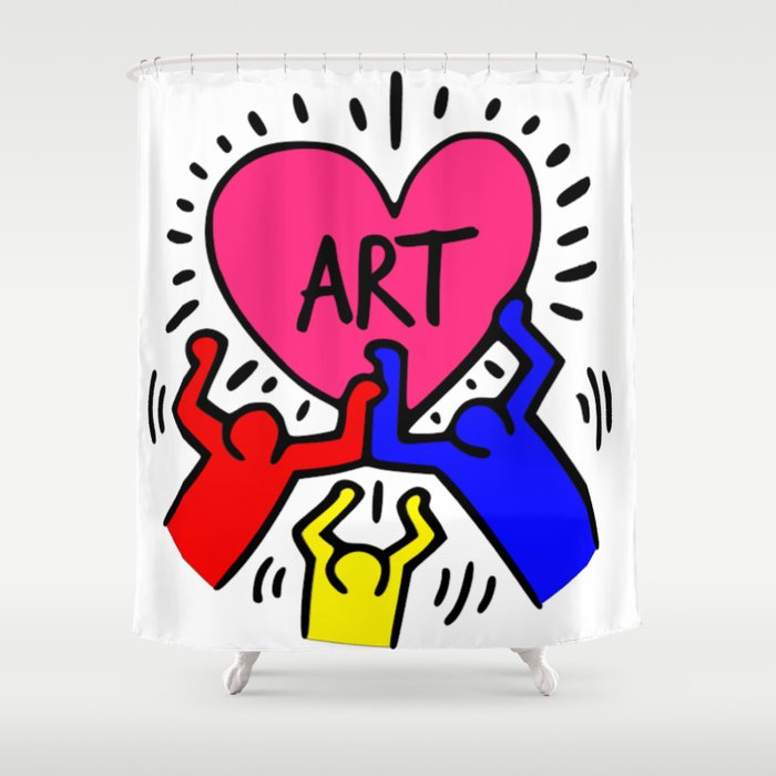 Keith Haring Inspired I Love Art Primary Colors Edition Shower Curtain