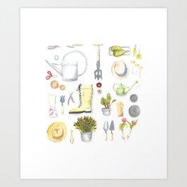 Gardening Tools Art Print
