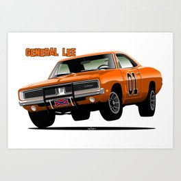 General Lee Dodge Charger Art Print