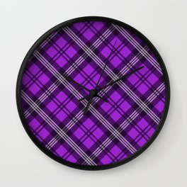 Scottish Plaid (Tartan) - Purple Wall Clock