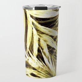 GOLD METALLIC LEAF FEATHER PALM PRINT TROPICAL DECO Travel Mug