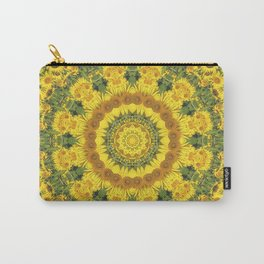Sunflowers, Floral mandala-style, Flower Mandala Carry-All Pouch
