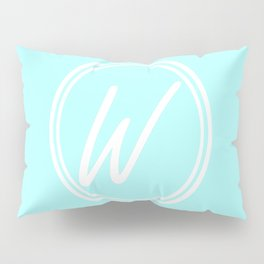 Monogram - Letter W on Celeste Cyan Background Pillow Sham
