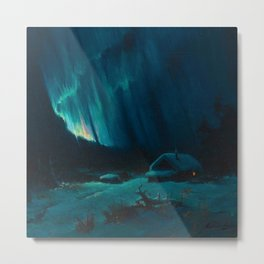 Northern Lights - Aurora Borealis Snowy Night Winter Scene by Sydney Lawrence Metal Print