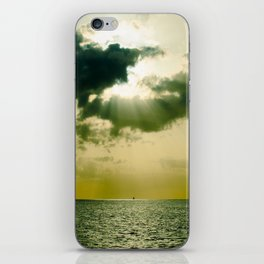 Green Sepia Monochromatic Ocean Clouds Photo Sun Shining Through Clouds iPhone Skin