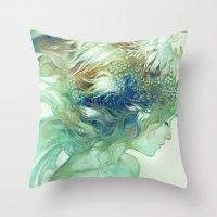 Throw Pillows featuring Comb by Anna Dittmann