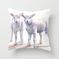 silence of the lambs Throw Pillows featuring Lambs by LouiseDemasi
