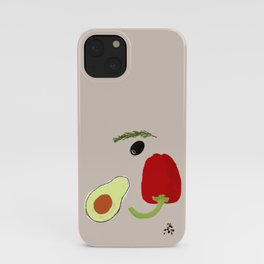 Looking at Avocado. Smiling Vegetable Face. Positive Vegetarian Vibes Kitchen Wall Decor iPhone Case