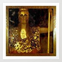 """gustav klimt Art Prints featuring """"Pallas Athena"""", Gustav Klimt by Vintage Germany"""