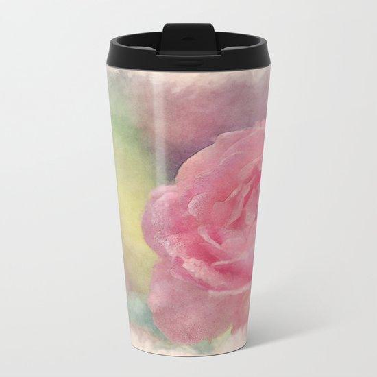 Pink Romantic rose - Watercolor floral Illustration- Flowers Metal Travel Mug