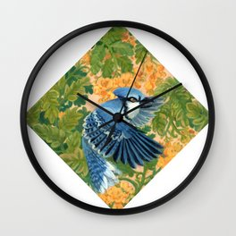 Autumn Song: Blue Jay and Cassia Wall Clock