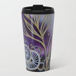 Purple Space Flowers Travel Mug