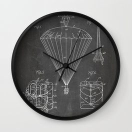 Parachute Patent - Sky Diving Art - Black Chalkboard Wall Clock