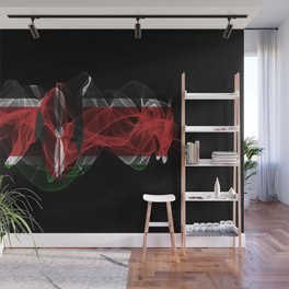 Kenya Smoke Flag on Black Background, Kenya flag Wall Mural