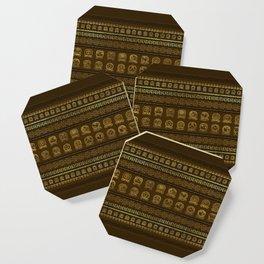 Maya Calendar Glyphs pattern Gold on Brown Coaster