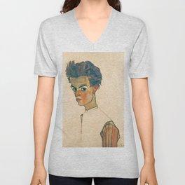 "Egon Schiele ""Self-Portrait with Striped Shirt"" Unisex V-Neck"