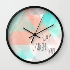 Watercolor Triangles Wall Clock