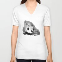 camp V-neck T-shirts featuring Camp Fire by Patricia Howitt