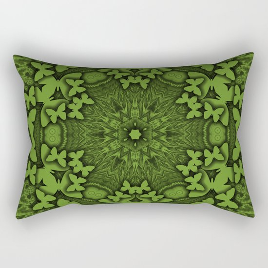 Butterfly kaleidoscope in green Rectangular Pillow