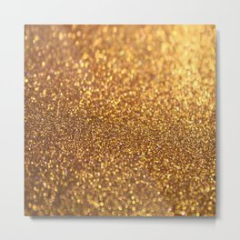 Golden Glitter Shiny Metal Print