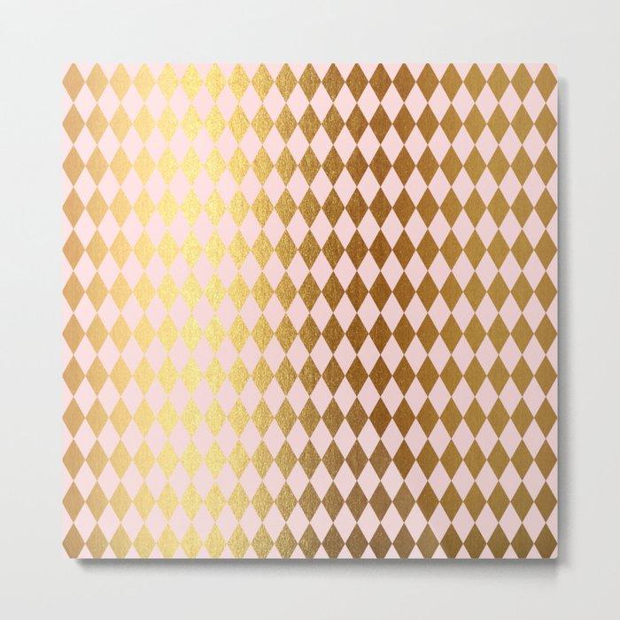 Royal gold on pink backround - Luxury geometrical pattern Metal Print