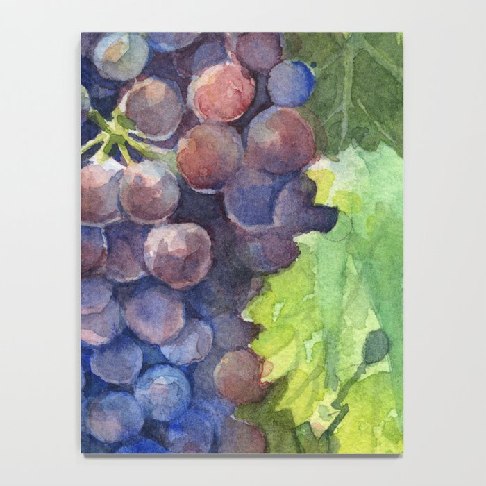 Grapes Watercolor Fruit Food Wine Lovers Notebook