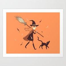 Little Witch Girl Art Print