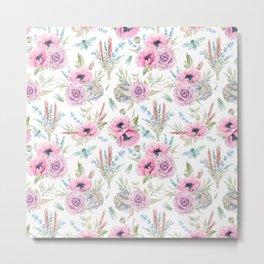 Mauve pink lilac green watercolor cactus roses floral Metal Print