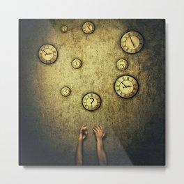 clocks juggling time Metal Print