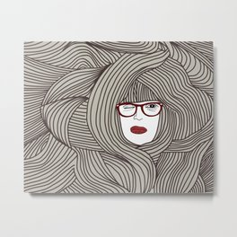 Long Hair Woman Metal Print