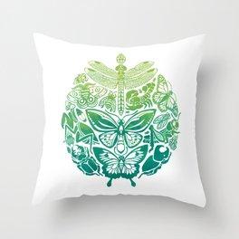 Bugs & Butterflies: green Throw Pillow