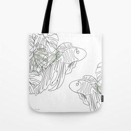 Botanical Line Drawing Tote Bag