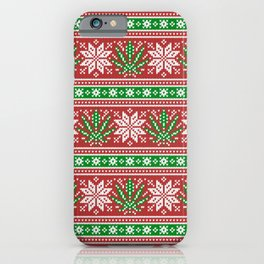 Christmas weed sweater iPhone Case