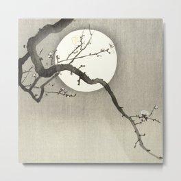Floral Moon Landscape Metal Print