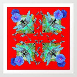 RED MODERN ART BLUE DRAGONFLIES MORNING GLORY Art Print