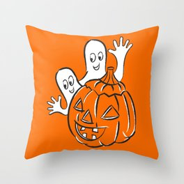 Vintage Halloween Jack O Lantern Pumpkin and Ghost Throw Pillow