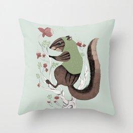 Squirrel Green Hood Throw Pillow