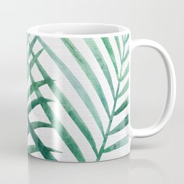 Emerald Palm Fronds Watercolor Coffee Mug
