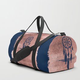 Modern navy blue faux rose gold dreamcatcher Duffle Bag