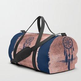 Modern navy blue faux rose gold dreamcatcher Duffle Bag