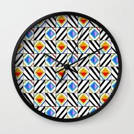symetric tartan and gingham 18 -vichy, gingham,strip,square,geometric, sober,tartan Wall Clock