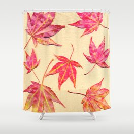 Japanese maple leaves - coral red on pale yellow Shower Curtain