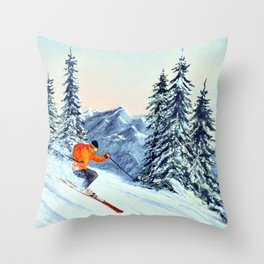 Skiing The Clear Leader Throw Pillow