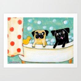 Pug Bath Time cute pug painting by TASCHA Art Print