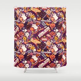Creepy Halloween Candy on Purple Shower Curtain